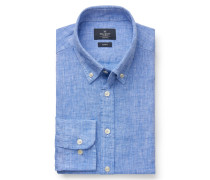 Leinenhemd 'Brompton' Button-Down-Kragen azurblau