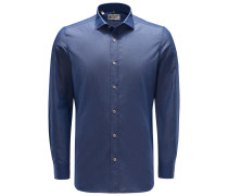 Chambray-Hemd schmaler Kragen graublau