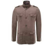 Leinen Field Jacket braun