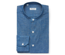Chambray-Hemd 'Robert' Grandad-Kragen blau