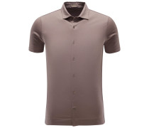 Jersey-Kurzarmhemd schmaler Kragen graubraun