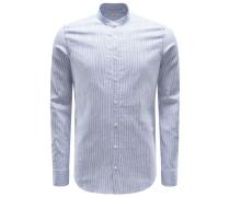 Casual Hemd 'Tailor Fit' Grandad-Kragen graublau/weiß