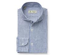 Leinenhemd 'Felice' Haifisch-Kragen graublau