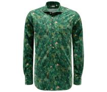 Popover-Hemd 'Tailor Fit' Haifisch-Kragen grün