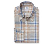 Leinenhemd Button-Down-Kragen braun
