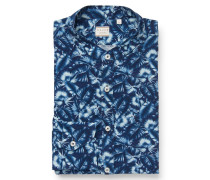 Casual Hemd Grandad-Kragen blau