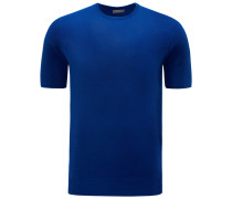 R-Neck Kurzarm-Pullover blau