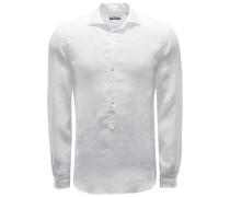 Popover-Leinenhemd 'Ray' Haifisch-Kragen weiß