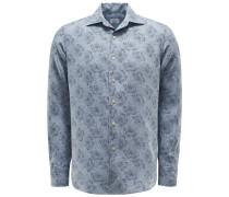 Leinenhemd Haifisch-Kragen graublau