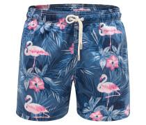 Badeshorts 'Gustavia Indigo Flamingo' graublau