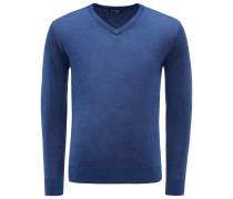 Merino V-Neck Pullover dunkelblau