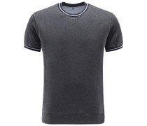 R-Neck Kurzarm-Sweatshirt dunkelgrau
