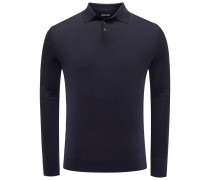 Merino Strickpolo dark navy