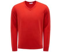 Feinstrick V-Ausschnitt-Pullover rot