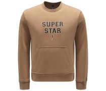 Sweatshirt mit Rundhals 'Super Star' hellbraun