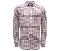 Casual Hemd Button-Down-Kragen bordeaux/grau