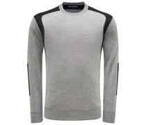 Merino R-Neck Pullover grau/schwarz