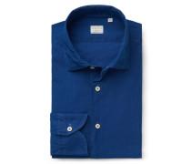 Chambray-Hemd 'Tailor Fit' schmaler Kragen dunkelblau