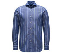 Chambray-Hemd 'Sergio Gaeta' Haifisch-Kragen graublau/weiß