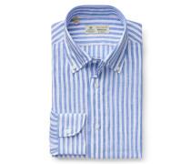 Leinenhemd 'Stefano' Button-Down-Kragen blau/weiß