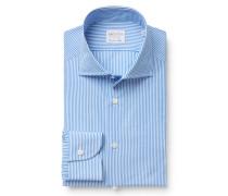 Business Hemd Haifisch-Kragen azurblau/weiß