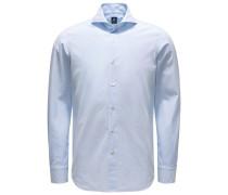 Seersucker-Hemd 'Sergio Gaeta' Haifisch-Kragen pastellblau