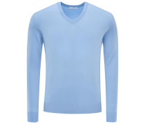 V-Neck Pullover hellblau