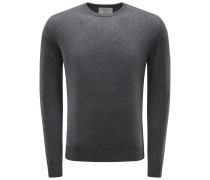 Cashmere R-Neck Pullover dunkelgrau