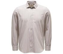 Chambray-Hemd 'Silvano Clark' schmaler Kragen beige/weiß
