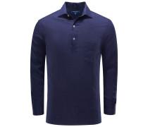 Popover-Leinenhemd 'Half Placket' schmaler Kragen navy