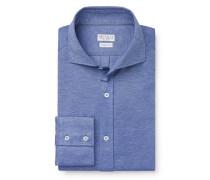 Jersey-Hemd Haifisch-Kragen blau