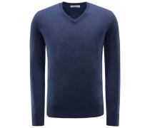 Cashmere V-Neck Pullover graublau