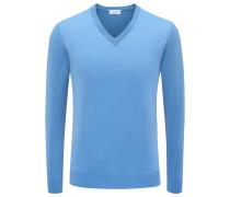 Cashmere V-Neck Pullover azurblau