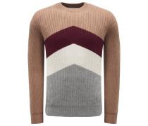Cashmere R-Neck Pullover braun/bordeaux