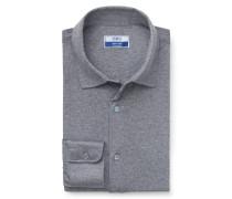 Jersey-Hemd 'Drap' Kent-Kragen grau