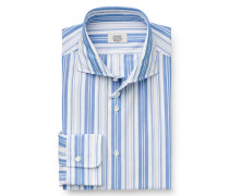 Business Hemd Haifisch-Kragen graublau/weiß
