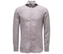 Leinenhemd 'Sergio Gaeta' Haifisch-Kragen dunkelbraun/weiß