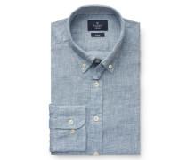 Leinenhemd 'Brompton' Button-Down-Kragen grau