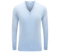 Cashmere V-Neck Pullover hellblau