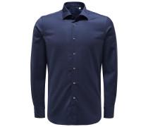 Merino Casual Hemd 'Tailor Fit' schmaler Kragen navy