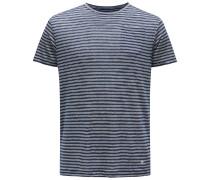 Leinen R-Neck T-Shirt navy/weiß