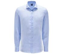 Leinenhemd 'Mivara Tailor Fit' Haifisch-Kragen hellblau