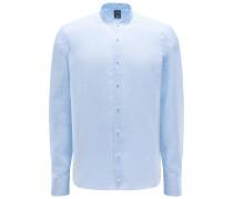 Leinenhemd 'Remos' Grandad-Kragen hellblau