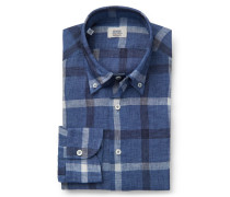 Leinenhemd Button-Down-Kragen blau