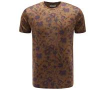 Leinen R-Neck T-Shirt braun