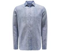 Leinenhemd Kent-Kragen dunkelblau