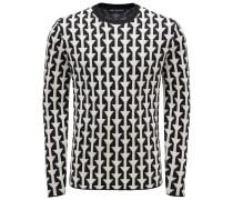 R-Neck Pullover schwarz/offwhite