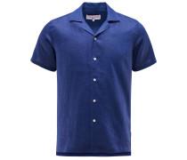 Leinen-Kurzarmhemd 'Thunderball Shirt' dunkelblau