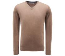 Cashmere V-Neck Pullover braun