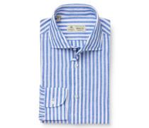 Casual Hemd 'Fabio' Haifisch-Kragen blau/weiß